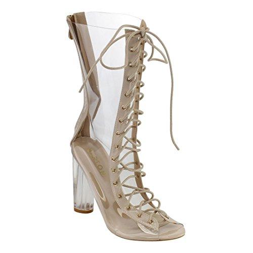 Beston DE57 Women's Peep Toe Corset Lace Up Block Clear Heel Mid-calf Boots, Color:NUDE, Size:40 M EU / 9 B(M) (Heel Corset)