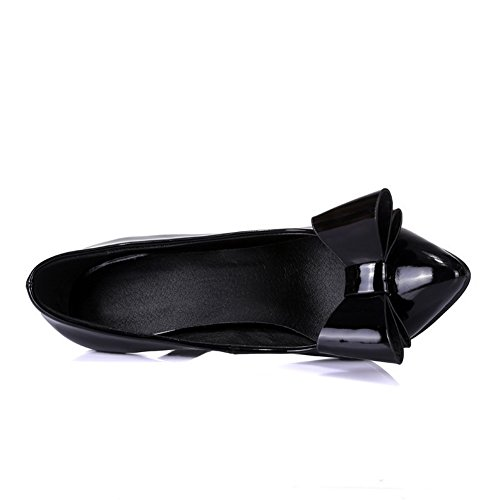 Allhqfashion Womens Puntige Gesloten Teen Pull-on Pu Stevige Hoge Hakken Pumps-schoenen Zwart