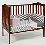 BabyDoll Minky Chevron Port-A-Crib Bedding Set, Pink