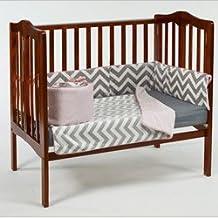 BabyDoll Minky Chevron Port-A-Crib Bedding Set, Pink