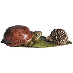 Top Collection Enchanted Story Fairy Garden Turtle and Hedgehog Outdoor Statue