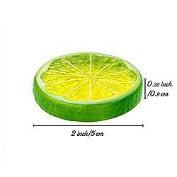 R.FLOWER 10 PCS Highly Simulation Fake Green Lemon Lime Slice Artificial Fruit Model Home Party Decoration