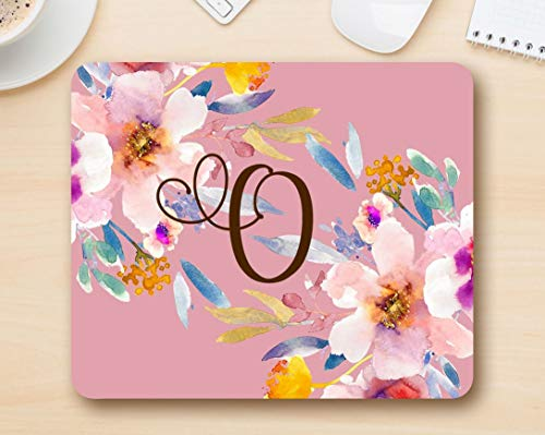 Monogram mousepad letter O - Floral Mouse Pad Computer Accessories Home Office Space Cubicle Decor