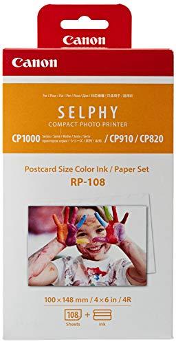 Canon RP-108 Color Ink/Paper Set, Compatible with Selphy CP910/CP820/CP1200/CP1300 (Canon Selphy Cp Color Ink Paper Set)