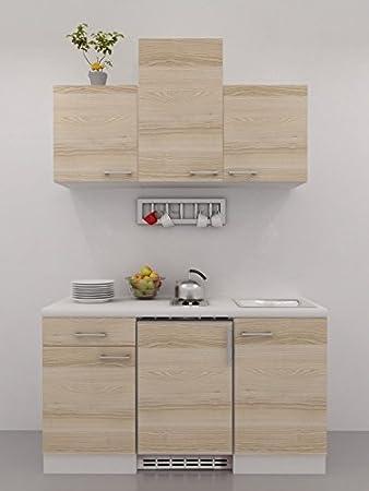 Singleküche 150 cm akazie mit geräten und hochhängeschrank arezzo