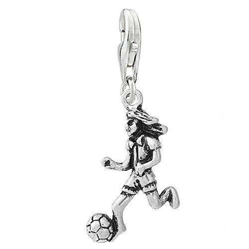 SEXY SPARKLES Football Soccer Player Clip on Pendant Charm for Bracelet or Necklace