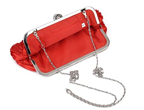 Crossbody Chou Bag Vintage Tiny Women's Handbag Evening Fashion Clutch Pleated Wallet Red Satin awd8dqnI