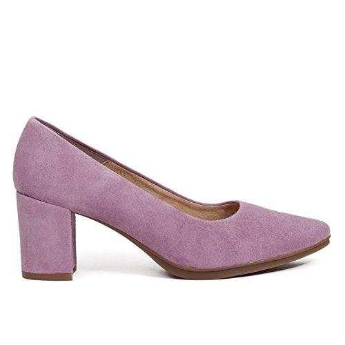 Zapato Salon Lila Tacon Grueso 6cm Mujer. Colección Verano 2018. Talla 35 hasta Talla 42. Zapato Fiesta y Trabajo Casual. Plantilla de Confort Gel Incl. Ideal para Baile. Zapatos Comodos Urban miMaO -