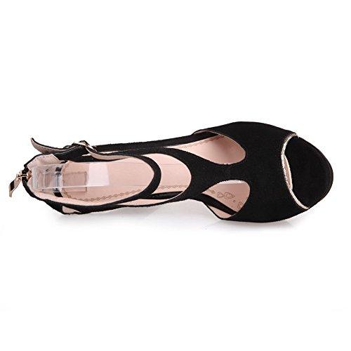 Amoonyfashion Vrouwen Koe Geïmiteerd Suède Solide Gesp Peep Teen Spikes Stiletto Sandalen Zwart