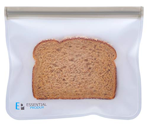 Essential Produx Reusuable Lunch Bags (5-Pack) Perfect for Snacks, Sandwich Baggies, Storage, Travel, Freezer Safe Extra Thick PEVA Material Dishwasher Safe