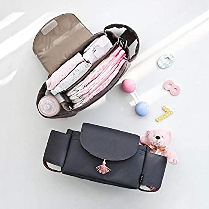FCUCKDANN Baby Stroller Organizer Bag Diaper Bag Baby Carriage Bracket Pram Buggy Organiser Storage Bag Bottle Bag Car Bag Hanging for Pushchair Easy to Install Large Storage Space Waterproof