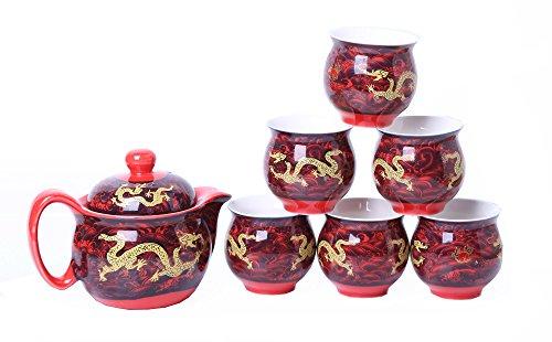 Chinese Tranditional Porcelain Tea Set Teapot and Tea Cup 7 Pcs -Dragon Symbols