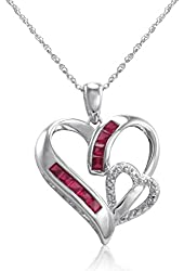 Created Ruby and Diamond Heart in Heart Pendant-Necklace in Sterling Silver