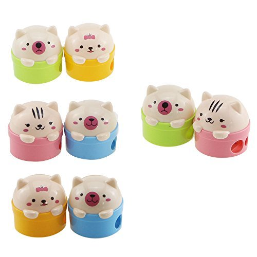 Acmer Cute Cartoon Animal Bear Two-Holes Pencil Sharpeners School Gift Prize for Kids - Great Quality, Pack of -