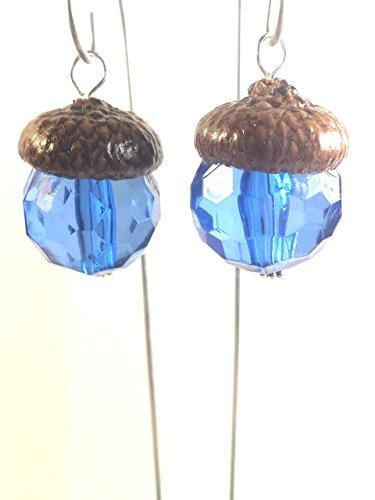 Fairy garden lights. Hanging lanterns. Set of 2. Miniature acorn cap lanterns. Dollhouse, terrarium décor. Blue.