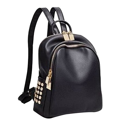 WTUS Mujer nuevo paquete mochila mochila de viaje de ocio es simple y elegante negro