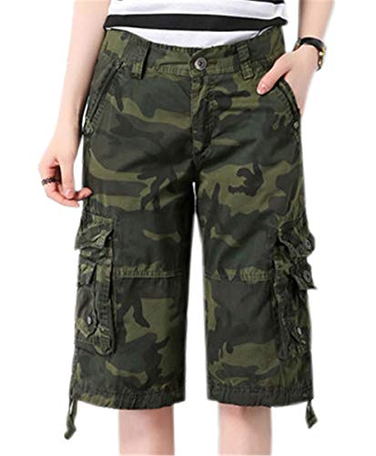 Women's Utility Straight Fit Casual Cargo Military Shorts with Multi Pockets, S01 Army Green Camo, US (2-4) = Tag 30