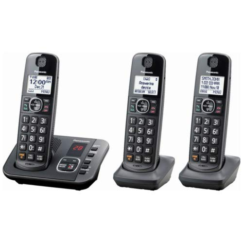 Panasonic KX-TGE633M DECT 6.0 Digital Technology Expandable 3 Handset Cordless Phone with Answering Machine (Renewed)
