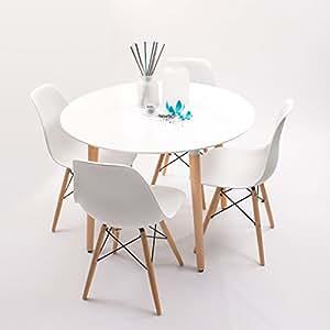 Conjunto de comedor nordik max con mesa redonda lacada - Silla eames amazon ...