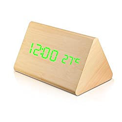 AFAITH Wooden LED Digital Alarm Clock, Displays Time Date Week And Temperature Triangle Wood-shaped Sound Control Desk Alarm Clock for Kid, Home, Office, Daily Life, Heavy Sleepers - Bamboo - SA079W