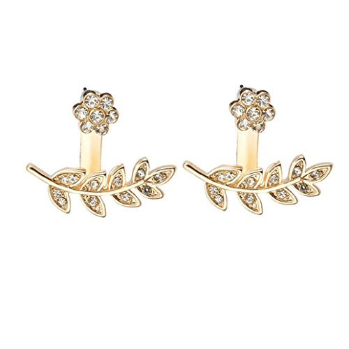 Paymenow Womens Girls Fashion Stud Earrings Plum Blossom Leaves Crystal Earrings Jewelry For Wedding Party (Gold) (Topaz Blossom)