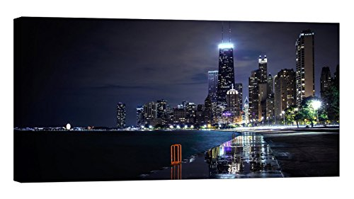 LightFairy Glow in The Dark Canvas Painting - Stretched and Framed Giclee Wall Art Print - City Urban Chicago at Night - Master Bedroom Living Room Large Décor - 46 x 24 inch -