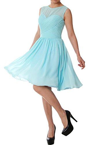 Chiffon Himmelblau Gown MACloth Short Neck Elegant Party Bridesmaid Dress O Formal Wedding qYB7xP