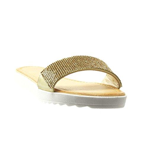 Angkorly - Scarpe da Moda sandali donna strass Tacco tacco piatto 2 CM - Oro