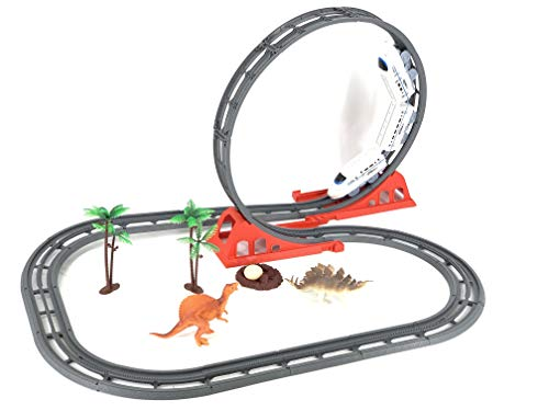 - INCHOI JOYSAE Track Train World Toy Set with 31 Pieces Flexible Tracks Set 2 Dinosaurs and 1 Light Rail Train 2 Trees 2 Slopes 1 Egg for Children's Gift Toys