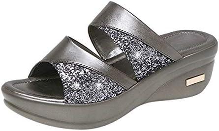 Thenxin Women Platform Wedge Slide Sandals Open Toe Bling Glitters Comfort Leather Summer Slides / Thenxin Women Platform Wedge Slide Sandals Open Toe Bling Glitters Comfort Leather Summer Slides