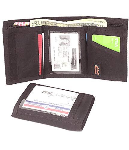 (Nylon Trifold ID Wallet w/Outside & Inside ID. Hook & Loop. Made in USA (Black) )