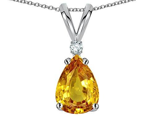 Pear Shape Citrine Necklace (Star K Pear Shape 8x6 mm Genuine Citrine Pendant Necklace 14 kt White Gold)