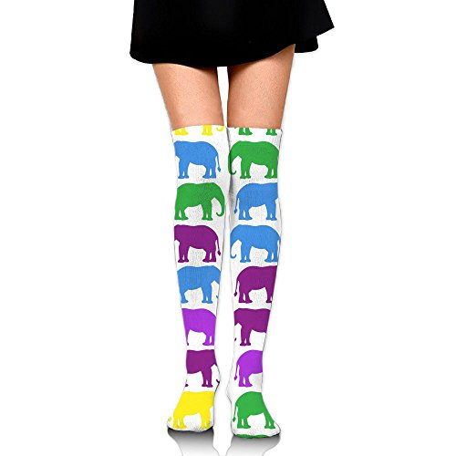Colorful Elephant Womens Long Over The Knee Thigh High Stockings Cosplay Socks Stocking White VXi6Q