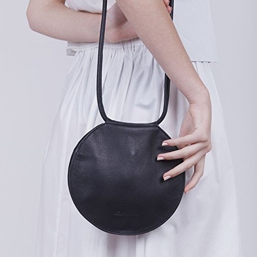 Timeless Genuine Black Leather Small Geometric Circle CrossBody Handbag by Lady Bird Bags