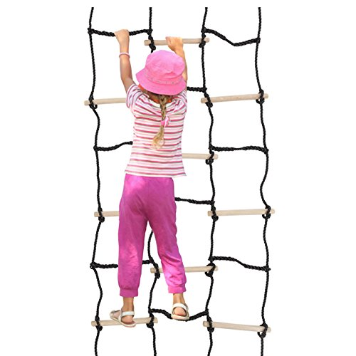 "90"" x 35"" Climbing Cargo Net For Kids Outdoor Play Ideal Outdoor Activities For Kids For Balance, Coordination And Strength Made With Real Wood and Nylon Rope Sturdy Construction Great for Ninja Obst by Climber Cargo"