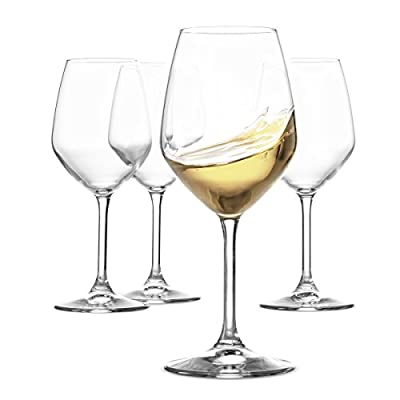 Paksh Novelty Italian White Wine Glasses - 15 Ounce - Lead Free - Shatter Resistant - Wine Glass, Clear