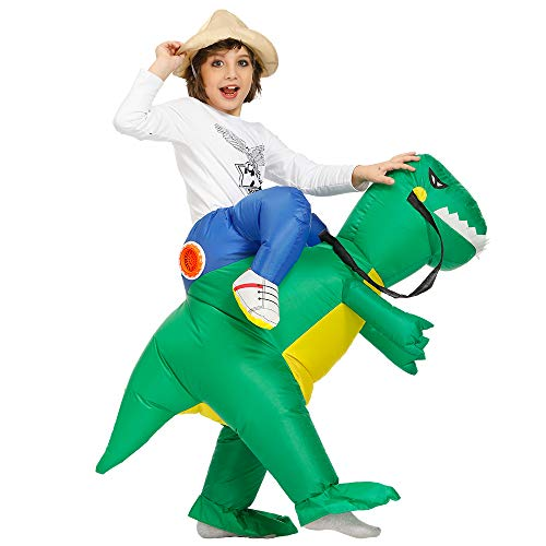 Kooy Inflatable Dinosaur Unicorn Cowboy Costume Halloween Costume Inflatable Costumes for Adults/Child (Kid-Green Dinosaur)]()
