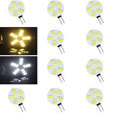 GuiXinWeiHeng 10 pcs ding yao G4 5W 15X SMD 5730 500-800LM 2700-3500/6000-6500K Warm White/Cool White Bi-pin Lights AC 12V , warm white
