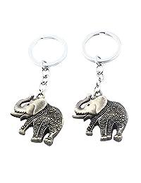 uxcell® Elephant Shaped Pendant Keychain Keyring Key Holder 2pcs Bronze Tone