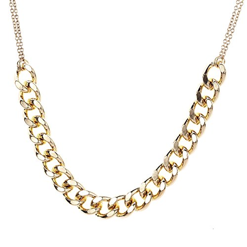 Heavy Metal Chain Necklace Women's Jewelry with Double Thin Neck-Chains (Gold (Heavy Metal Chain)