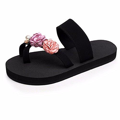 zapatos beach cool antideslizante seaside flores de moda Fondo plano chanclas señoras dulce casual c FLYRCX zapatillas clip pies FBxRqSv