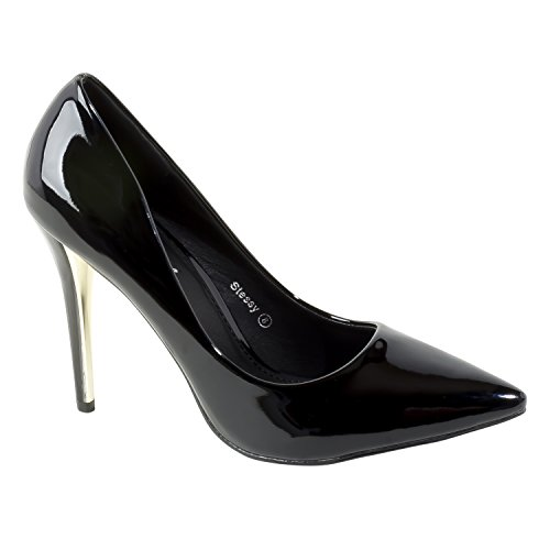 HerStyle Womens Manmade Stessy 4-inch Pointed Pump with Glossy Sheen Black yNd9HUJ0