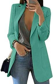watersouprty Womens Blazer Jacket Casual Long Sleeve Open Front Office Suit Cardigan Coat