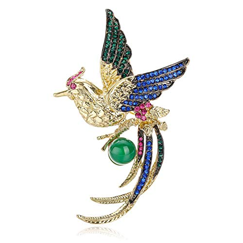 JENIGH JEWEL Brooch Pins for Women - Animal Jade Brooch with Gemstone Sparkly Crystal Brooch Gold Elegant Dual-use Brooch Necklace Safety Pin Great for Wedding and Business Occasions