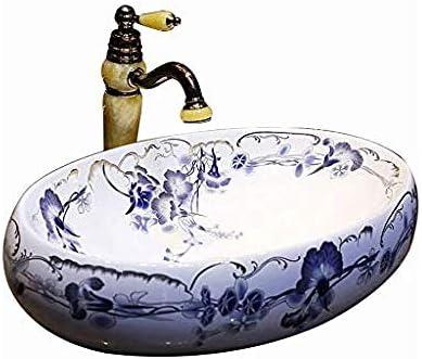 バスルームオーバル洗面レトロモーニンググローリーセラミックホテルアンチスプラッシュ洗面バスルームのシンク