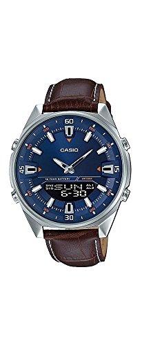(Casio AMW830L-2AV Men's Leather Band Blue Dial Analog Digital Telememo 30 Watch)