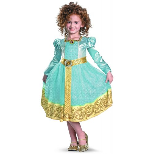 Gold Filled Costume (Brave Merida Deluxe Costume, Auqa/Gold, Small)