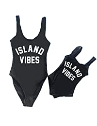 Exquise fille Women and Girls One Piece Beach Wear Island Vibes Print Sporty Monokini