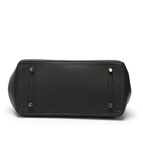 XNQXW Black Leather Shoulder Fashion Litchi Bolsos bandolera Handbag Cowhide Handbag ZZ7Rr
