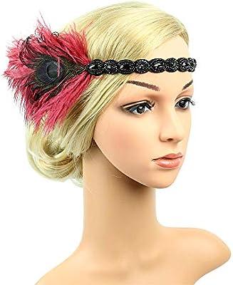 Vintage Retro Women Headband Prom Elastic 1920s Feather Flapper Hair Band Wraps